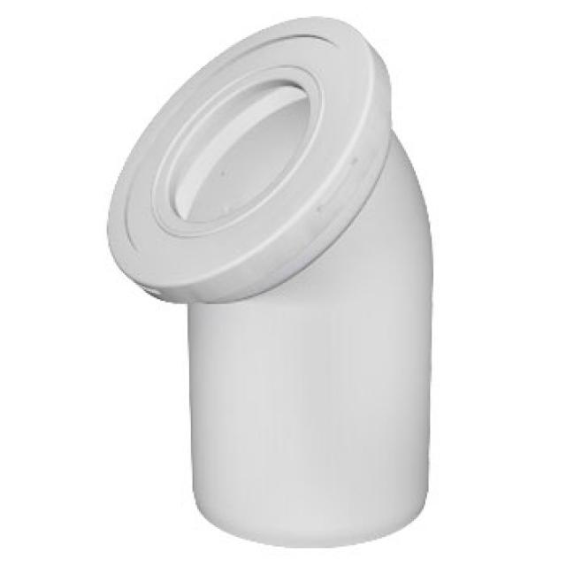 Отвод d110 для унитаза, угол 45, белый