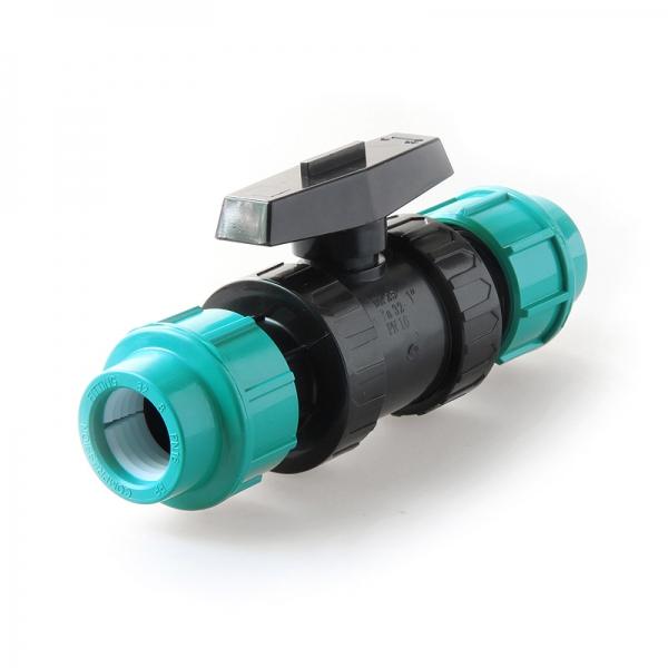 Кран шаровой ПЭ Unio компрессионный, соединительный 20 ц-ц