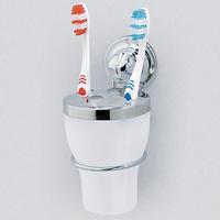 Стакан для зубных щеток EverLoc EL-10223 на присоске, хром.сталь/пластик