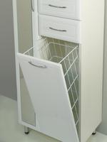 Шкаф напольный РС Престиж с зеркалом и корзиной. Левый. Белый