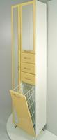 Шкаф напольный РС Престиж с зеркалом и корзиной. Левый. Бежевый мрамор