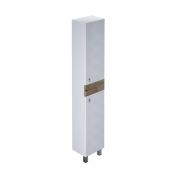 Пенал для ванной комнаты, напольный, белый/дерево, 36 см, Carlow, IDDIS, CAR3600i97 (шкаф-пенал)